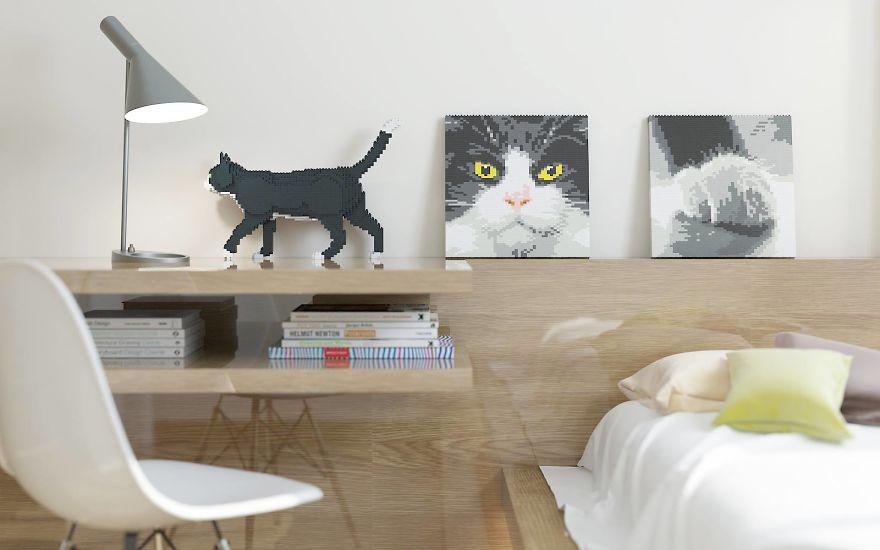 sculpture chat en lego pour sa chambre