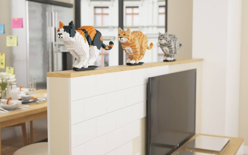 sculptures de chat en lego
